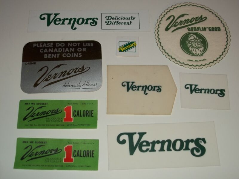FREE MAILING!9 NOS 1960s VERNORS GINGER ALE Group 8 MACHINE LABELS Vending Sign+