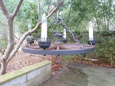 Vintage Wagon Wheel Hanging Chandelier Lamp Western Country Ranch 50's 60's, used for sale  Cary