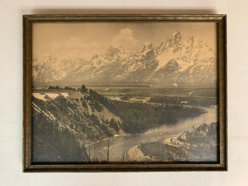 "Vintage Framed Photograph of ""Tetons, from Dead Man Bar, Snake River"" Jackson WY"