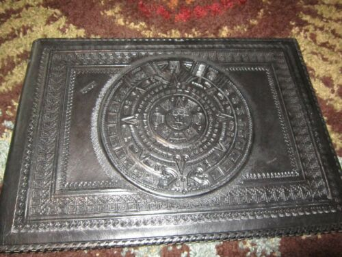 Vintage Handmade? TOOLED LEATHER Family Photo Album Scrapbook Mexico Black