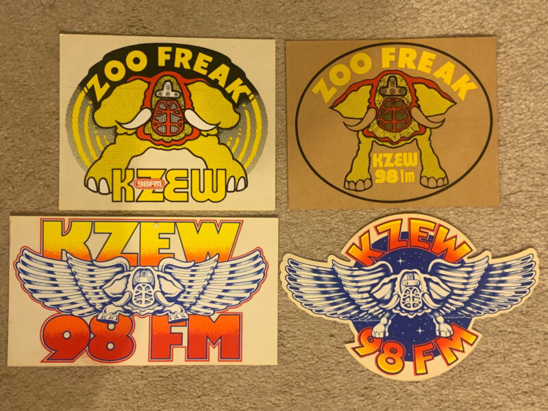 4 Different KZEW The ZOO Stickers 98FM Radio Station Dallas TX From 1970s & 80s