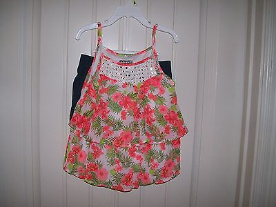 Nwt Pogo Club Girls 2 Pc  Floral Lace Top   Short Set Size 5 6 Retail  28
