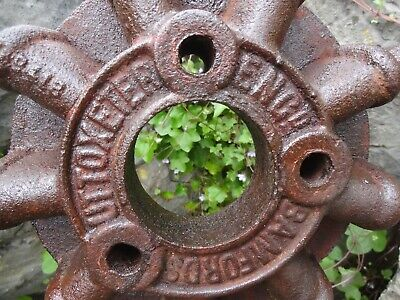 Lovely Large Vintage Farm Equipment Metal Castiron Wheel Bamford & Sons