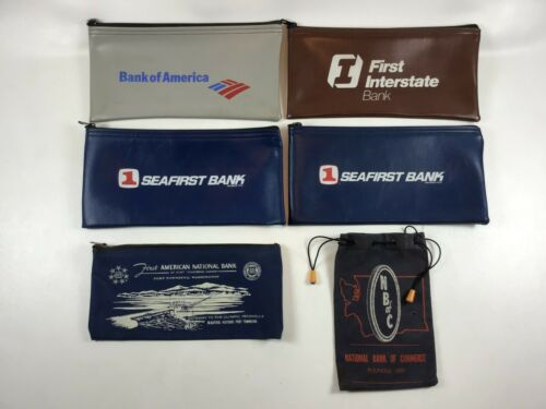 Lot of 6 Money Deposit Zipper Draw Bags Pouches Seafirst NBC Bank of America