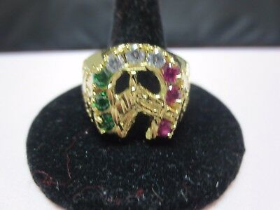 14 KT GOLD PLATED LUCKY HORSESHOE 3 COLOR CUBIC ZIRCONIA RING,SIZES 8-13