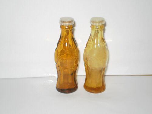 VINTAGE COCA COLA BOTTLE GLASS SALT N PEPPER SHAKERS  1960
