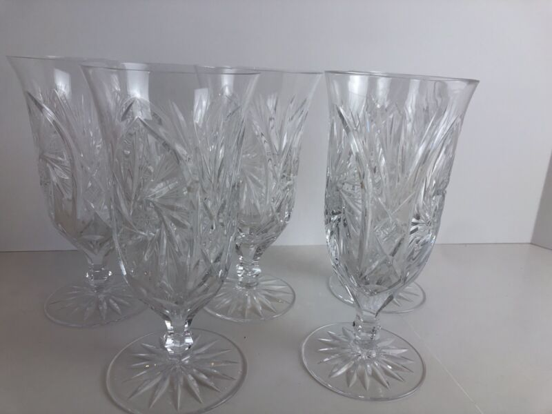 Vintage Crystal Hand Blown And Cut Glasses 5 Piece Set. Mint
