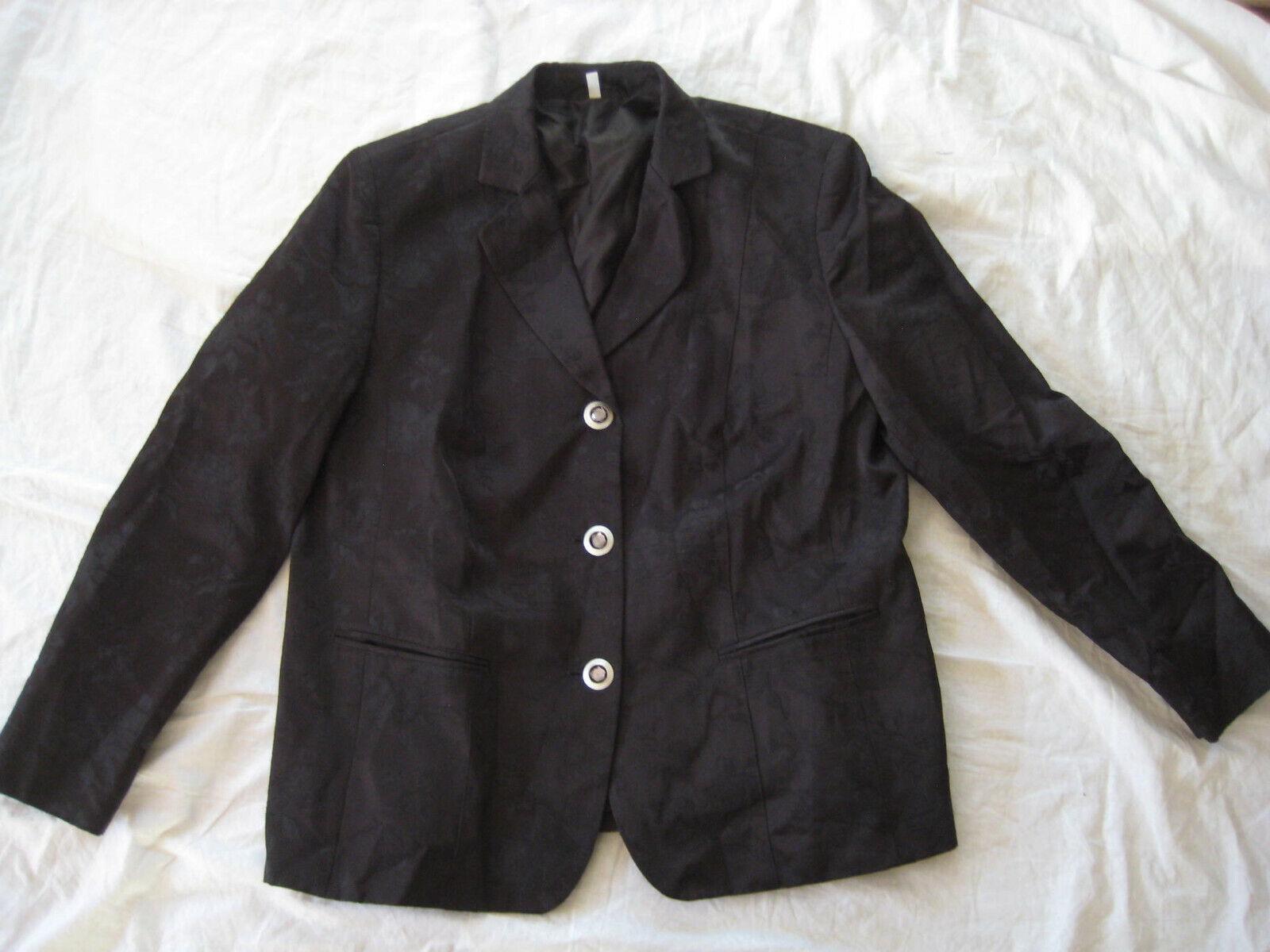 BEXLEYS Damen Jacke Blazer schwarz mit Blumen Muster Ton-in-Ton Gr 44 w NEU 1xge