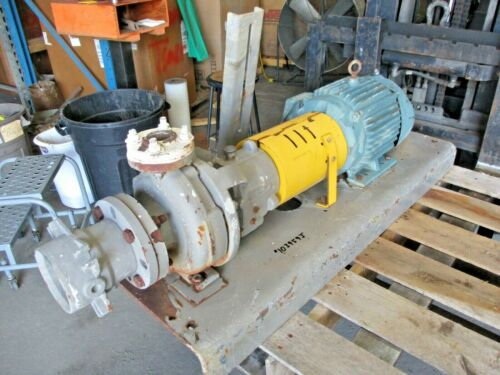 FLOWSERVE 3 X 1-1/2 - 6 IRON PUMP W/ RELIANCE 7-1/2 HP MOTOR, #103959J USED