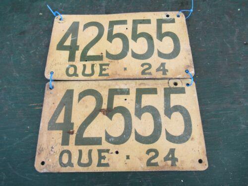 ANTIQUE Quebec Canada 1924 License Plate FIBERBOARD 42555 Set of 2 Plates