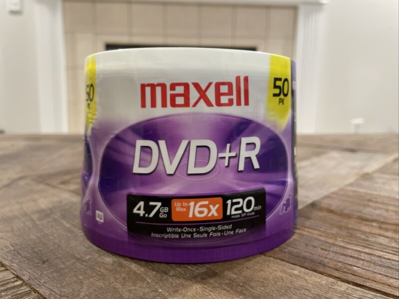 New MAXELL DVD+R Recordable Discs 8x Speed 120 Mins 4.7 Gb 50 Disc Spindle