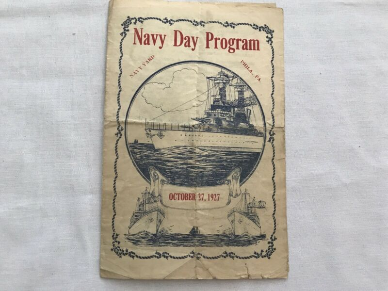 1927 PHILADELPHIA NAVY YARD Vintage NAVY DAY PROGRAM