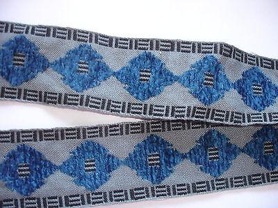 3m Trachtenborte 0,80€/m grau/blau Webborte - 3,5cm breit KL1