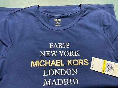 $44 MICHAEL KORS Women's City Graphic Signature T-Shirt Blue Cap Sleeve Med NWT