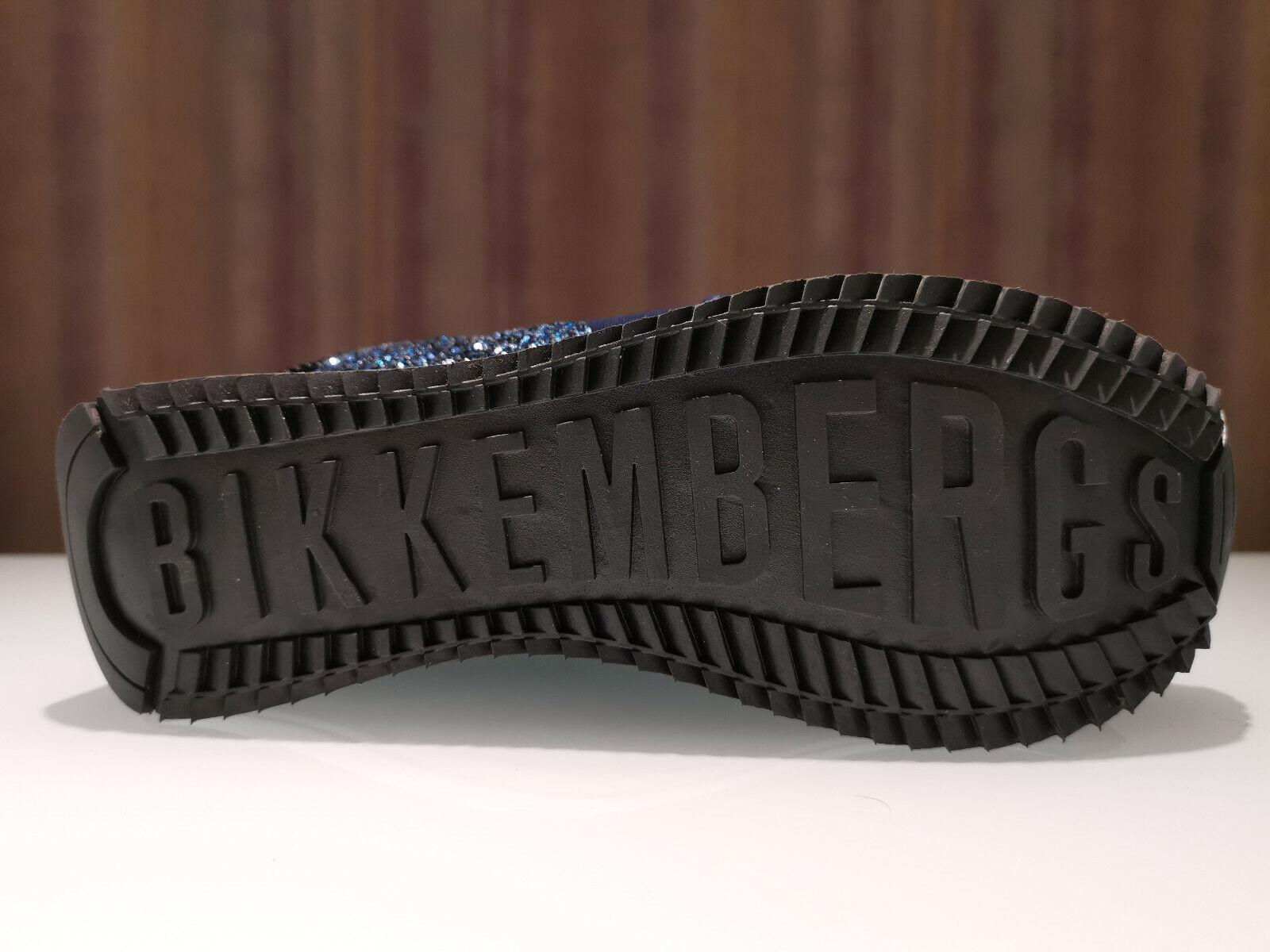 SCARPE BIKKEMBERGS DONNA B4BKW0059 LADENE LOW TOP LACE UP VEL BLU NAVI ORIGINALE