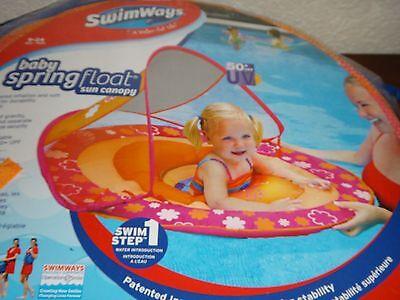 SWIM WAYS~9-24 Month BABY Spring Float Boat Sun Canopy 50+UPF UV~Floral Orange & Inflatable Floats u0026 Tubes - Swimming Ways Baby