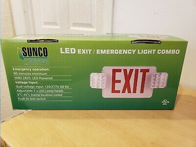 Sunco Singledouble Face Led Combo Emergency Exit Sign W 2 Head Lights Batt.
