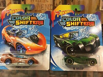 LOT OF TWO (2) HOT WHEELS 2018 COLOR SHIFTERS 16 ANGELS & POWER ROCKET NIP
