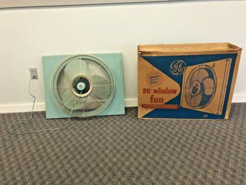 Vintage WINDOW FAN 3 speed exhaust metal GE Blue mid century modern w box 23657