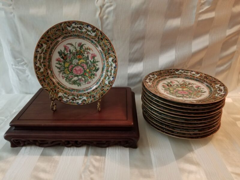 12  Plates - 19th Century Qing Dynasty Canton Famille Rose Butterfly - Lavish