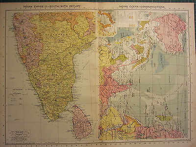 1939 MAP ~ INDIAN EMPIRE SOUTH with CEYLON ~ INDIAN OCEAN COMMUNICATIONS