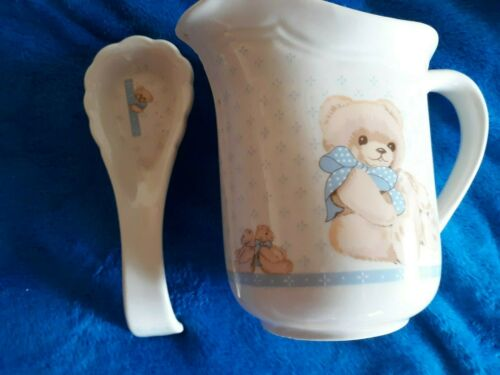 "Tienshan Stoneware Country Teddy Bear 7"" Water Pitcher & Spoon Rest"