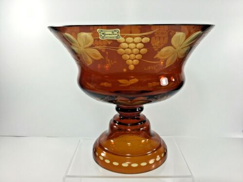 """Vintage Egermann Ruby Red Cut to Clear Glass Etched 7.25"""" Compote Czech Republic"""