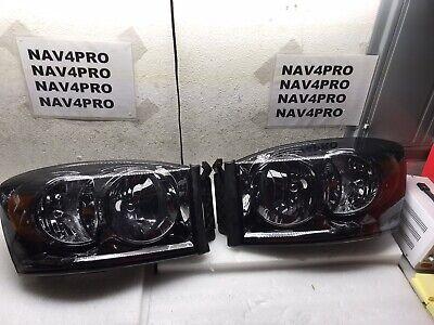 2006-2008 Dodge Ram 1500 2500 3500 Chrome Smoked Halogen Headlight Pair #H153