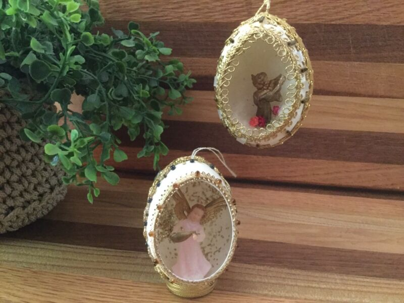 2 Vintage Handcrafted Egg Christmas Angel Diorama Ornaments