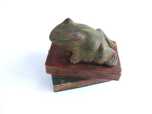 Vintage Handmade Carved Wood Frog Statue / Figurine