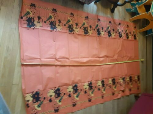 Old Vintage Halloween Crepe Paper Tablecloth Cat Bats JOL Moon Haunted House