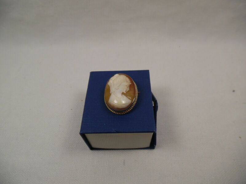 CAMEO PIN OR PENDANT VICTORIAN STYLE CLOSURE UNMARKED GOLD COLORED METAL