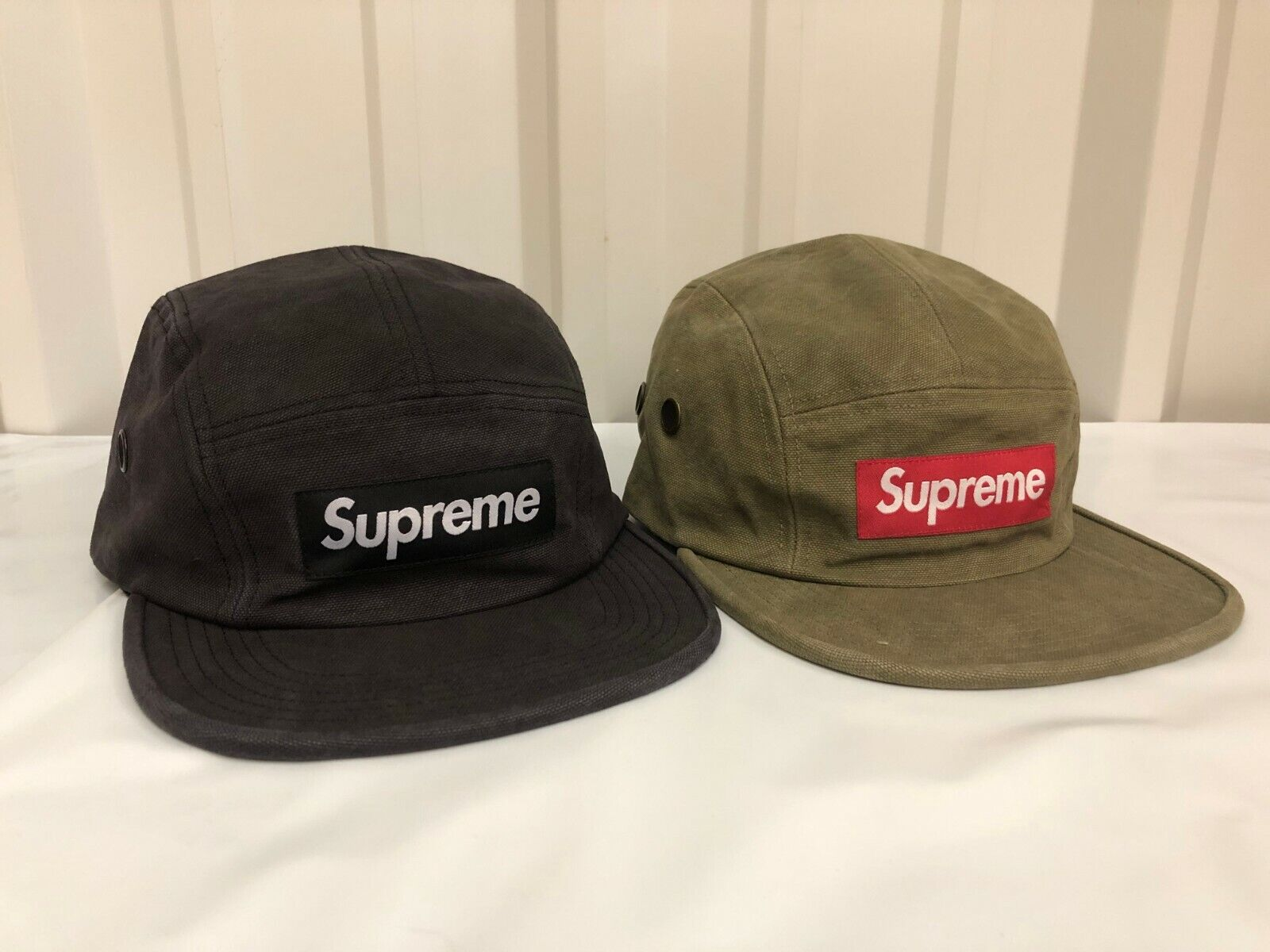 SUPREME Washed Canvas Camp Cap Orange Blue Black box logo tnf S//S 17