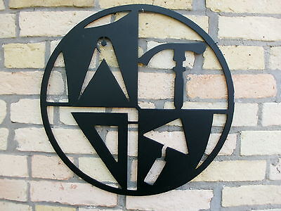 MAURER Zunftzeichen RUND aus 3mm STAHL, 40cm, Innungsschild Handwerkszeichen,