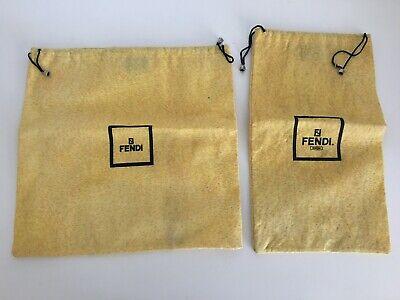 2 Authentic FENDI Storage Dust Bags Handbag Shoes Yellow Bell Drawstring