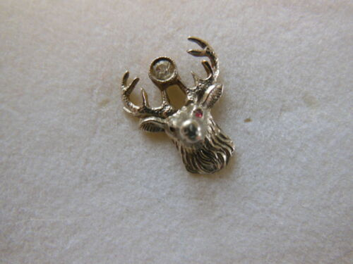 Vintage 10k White Gold Elk Moose Tie Tac Lapel Pin w/ Diamond & Ruby
