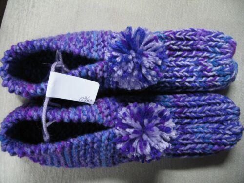 "New Unisex Handmade Slippers Purple/Violet Mix Wms XX Large Mans X Lg 10 3/4"""