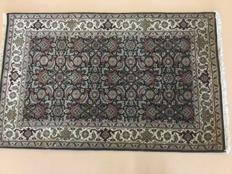 Black Beige Fine Super Herati Persian Oriental Rug Hand Knotted Geometric Wool