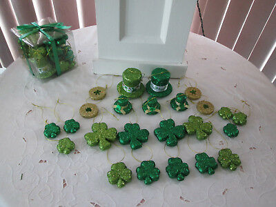 24.Assorted Glitter St. Patrick's Day Irish Shamrock, Hats & Coins Ornaments New