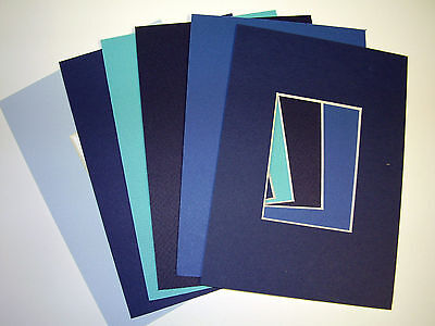 Picture Frame Mat 4x6 for 2.5x3.5 ACEO photo set of six Blue