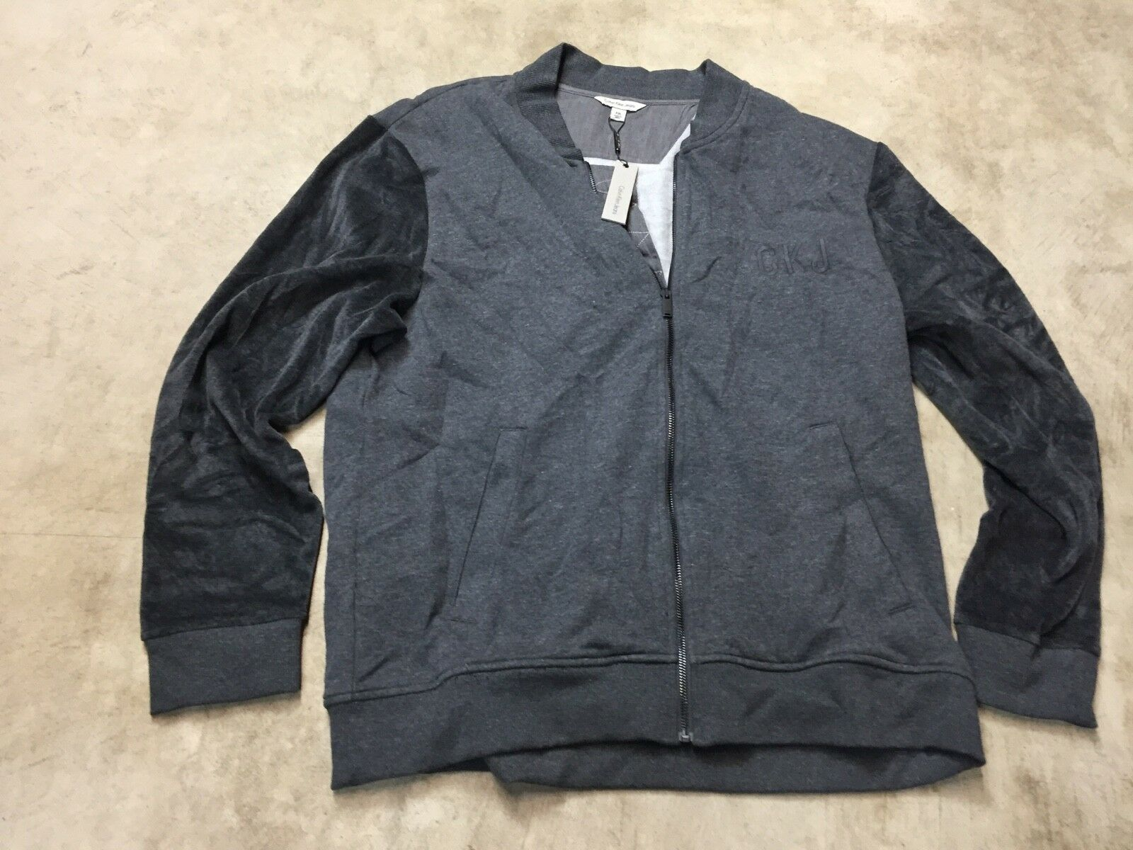 mens calvin Klein jeans velour velvet full zip bomber sweate