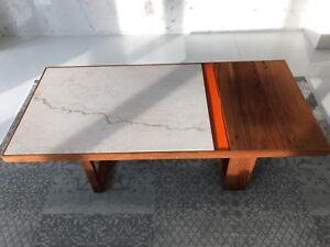 White marble and natural wood  coffee table