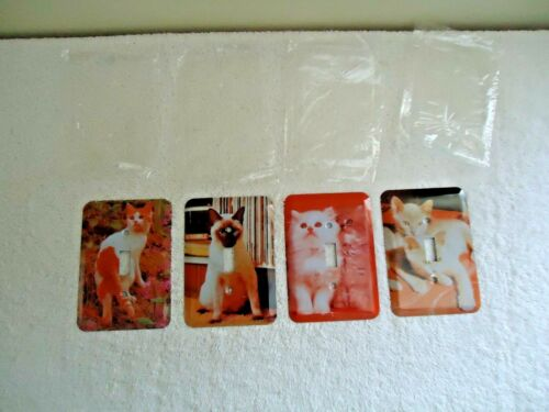 "Vintage Set Of 4 "" NOS "" Cat Themed Metal Light Switch Covers "" GREAT LOT """