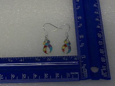 Autism ribbon charm earrings .925 sterling silver ear (Sterling Silver Ribbon Earrings)