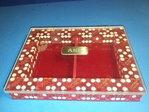 FLAMINGO HILTON HOTEL CASINO LAS VEGAS PERSONALIZED ANN DICE POKER CARDS HOLDER