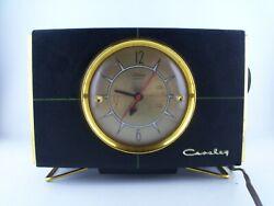 Vintage 1940s CROSLEY Electric Alarm Clock AM Radio, Gold & Black