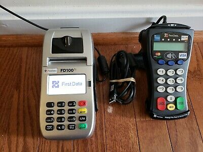 First Data Fd100ti Credit Card Machine Terminal Fd-30 Chip Reader Pin Pad