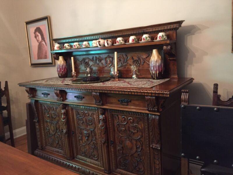 antique Carved oak dining set