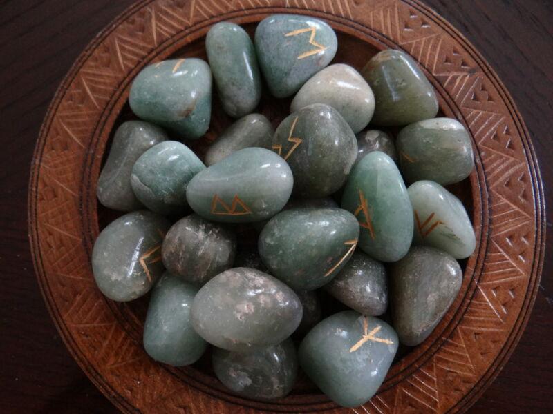 Green Aventurine Gemstone Runes Wiccan Pagan Altar Supply