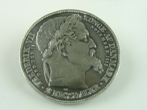 1863 Denmark 2 Rigsdaler Coin / Pin Low Mintage Better Date Excellent Details